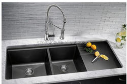 Easy cleaning built-in drainboard cheap unique kitchen sinks,Undermount Double Bowl Quartz Stone Kitchen Sink