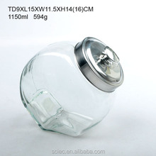 Clear slant glass storage jar for food with lid