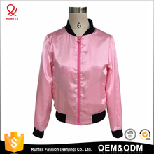 China high quality Custom women baseball satin varsity bomber jacket