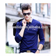 Custom Navy Blue Polo Shirt with contrast collar Chest Pocket Fashion Korean Polo Shirts For Men in Guangzhou
