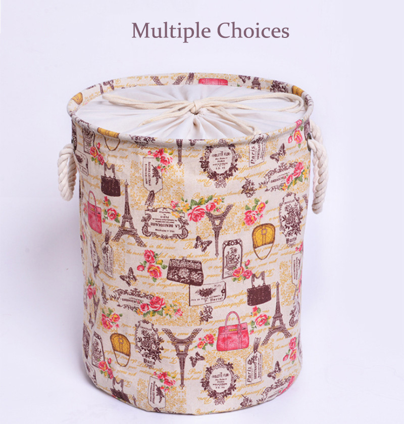 Cotton Portable Foldable Laundry Storage  Basket Bin with Handle