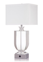 (C)UL&ETL listed modern plated chrome finish clear crystal column off-white cream linen shade hotel table lamp/desk lamp