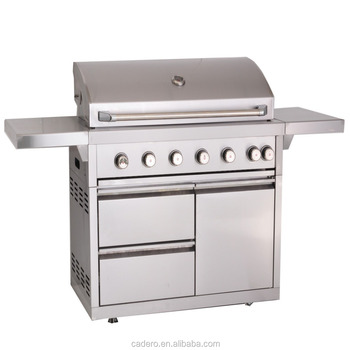 CBU-601 Full stainless steel gas grill with side burner and rear infrared burner, and rotisserie