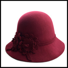2016 classic Wool hat hand made Flower Decorate Flat Top felt Fedora Hat