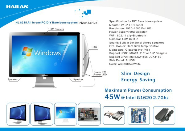 "Hailan high quality new design 21.5"" computer for graphic design all in one desktop"