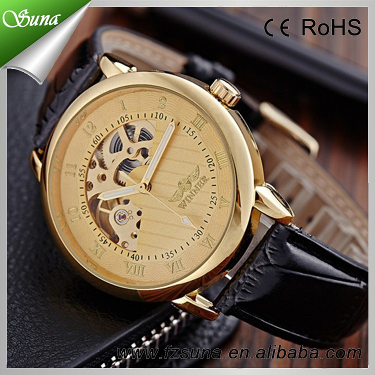 China Suppliers Crazy Selling Leather Band Winner No Battery Automatic Watch