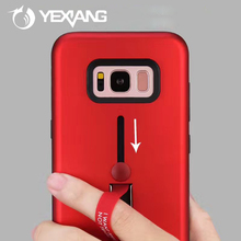 new portable ring holder mobile phone case for samsung galaxy j57 hard back cover with stand
