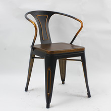 Retro copper style wood seat old style chair