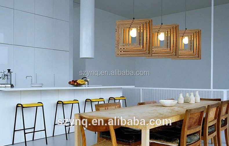 wood cage led light pendant lamp from china manufacturer