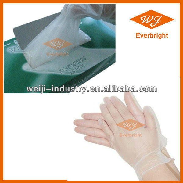 Hairdressing Clear And Blue Disposable Vinyl Glove