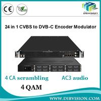 Professional dvb transmodulator Mux Scrambling with AV to rf converter av to ip 24 Channel