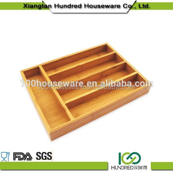 Eco-friendly bamboo kitchen expandable cutlery tray