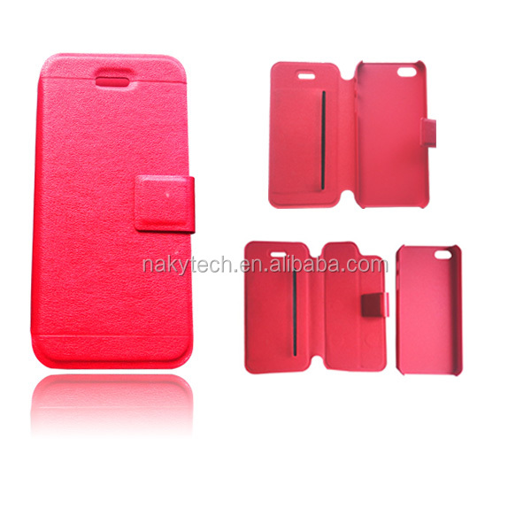 Detachable shell PC and PU leather protecting mobile phone case for iphone 5 5s 5c