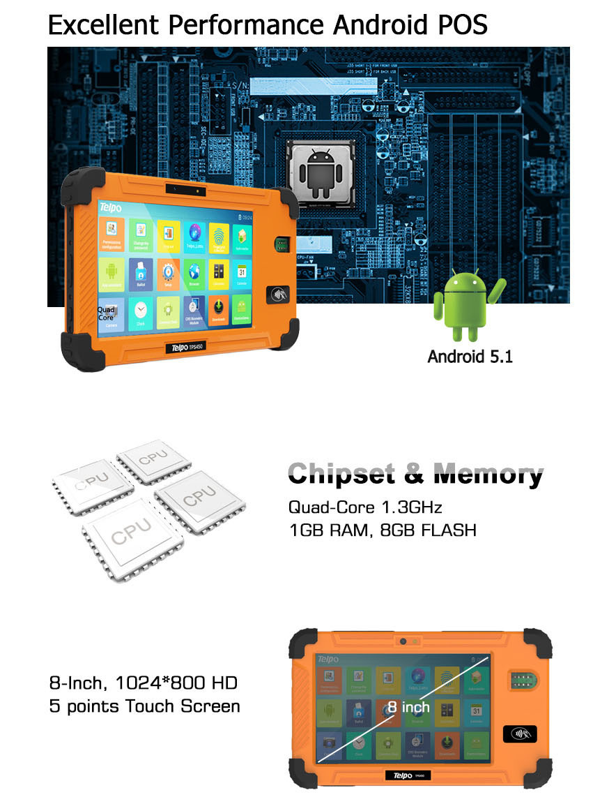 Telpo TPS450 Waterproof Tablet Android Fm Transmitter Bluetooth Gps for Biometric Solution