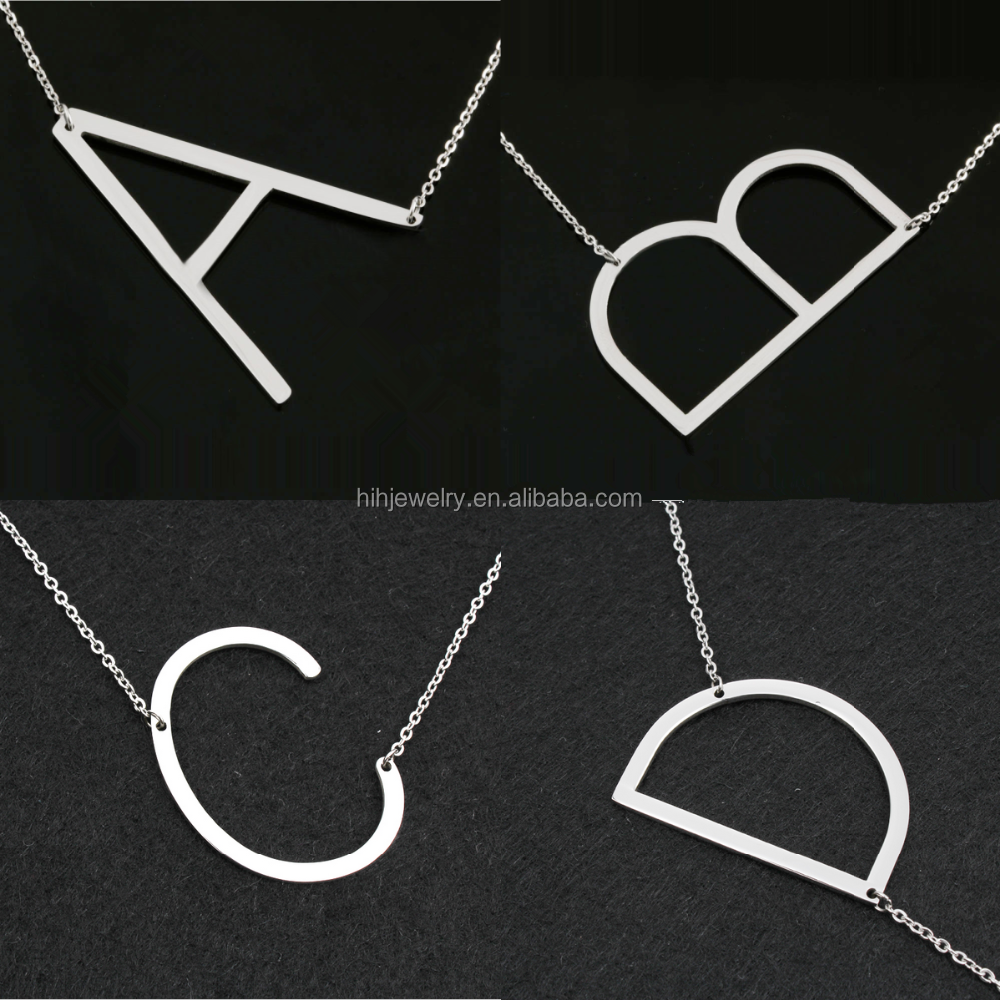 A M J <strong>R</strong> Letter Necklace Fashion Stainless Steel Woman Choker Necklace