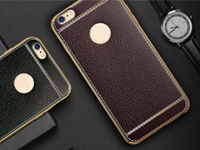 New Luxury Litchi Leather Pattern Ultra Thin Electroplating TPU Phone Case For iPhone 6 6s 7 Plus for iPhone 7