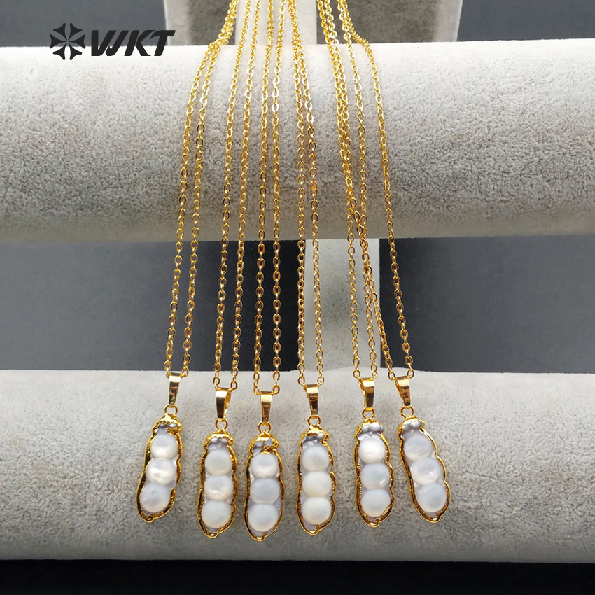 WT-N992Wholesale hot sale simple design necklace 18 inch natural freshwater pearl 24K real gold plated generous special girl gif