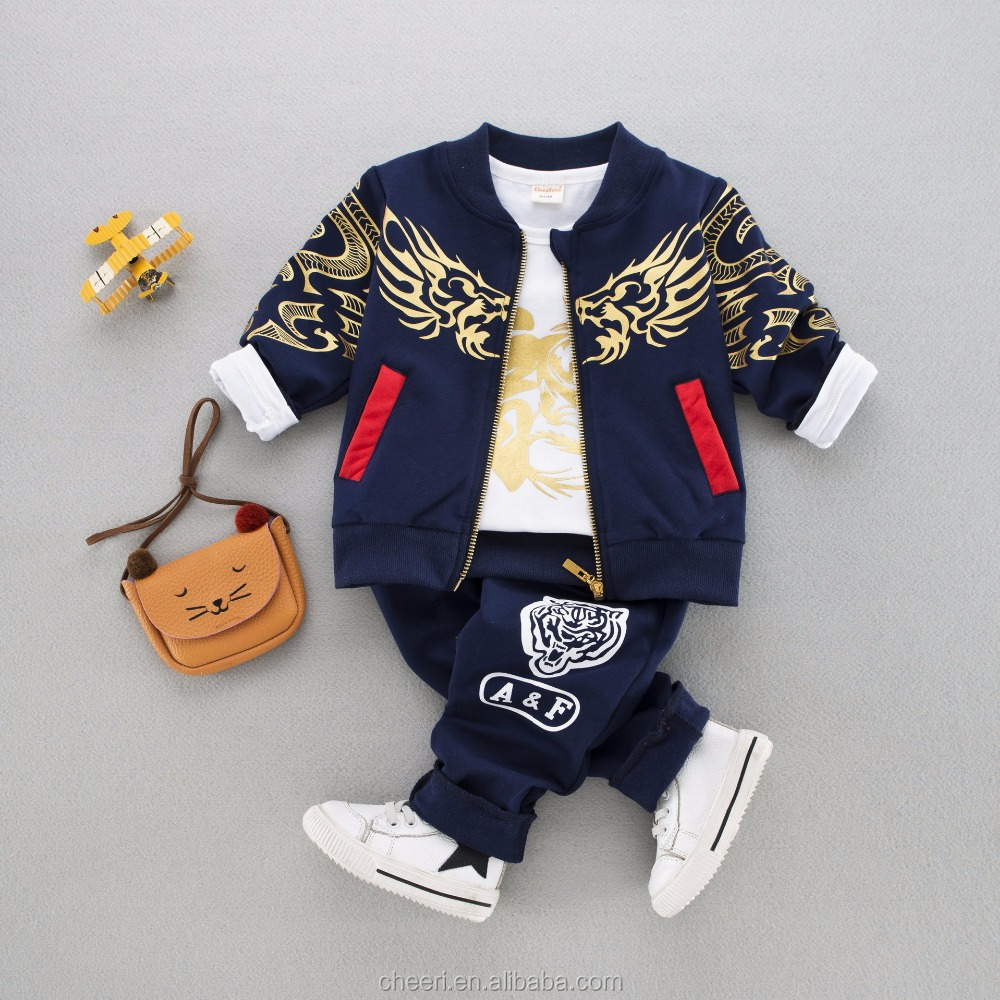 HT-GC high quality boutique sport clothes fashion wholesale 3 pieces boys clothes fancy children clothing baby clothes