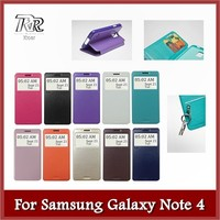Roar Noble View Leather Flip Case, Stand Function & Card slot for Samsung Galaxy Note 4 (10 Plain Colors)