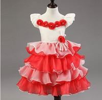 Wholesale children's boutique clothing children party dress with flower girls nice dresses