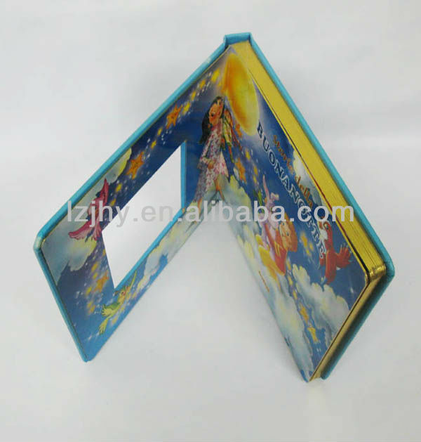 Children card board book with gold foil edge.
