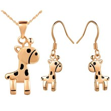 Delicate Small Horse Gold Plated Fashion Jewelry Set