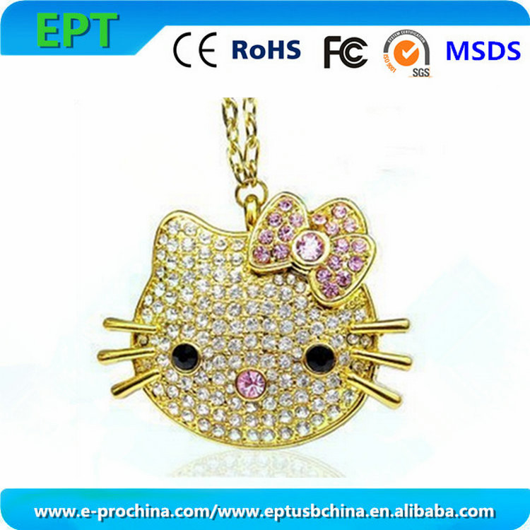 Cute cat shape with keychain memory stick crystal usb flash drive