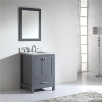 Natural Marble Countertop Solid Wood Bathroom Cabinet