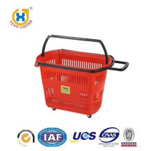 Online Shopping Supermarket Large Plastic Shopping Basket With Four Wheels