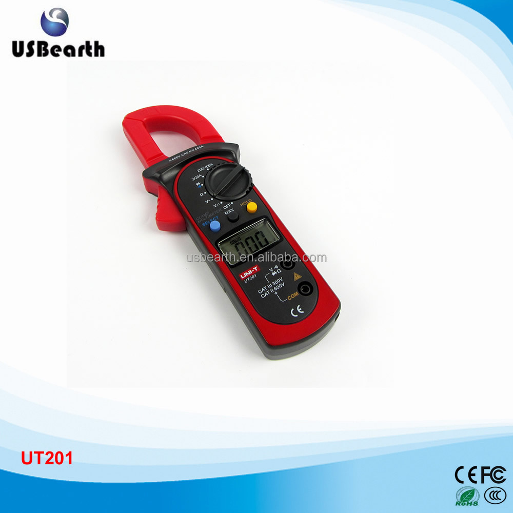 Original UNI-T Digital Clamp Meters UT201 Auto Range LCD Display AC Current AC/DC Voltmeter 1999 Count Clamp Multimeters