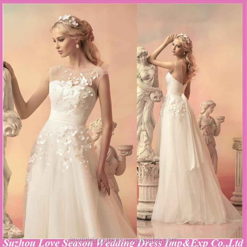 WD5560 2015 latest design any sizes see through top V back flowers top A-line organza most popular designer hot wedding dress
