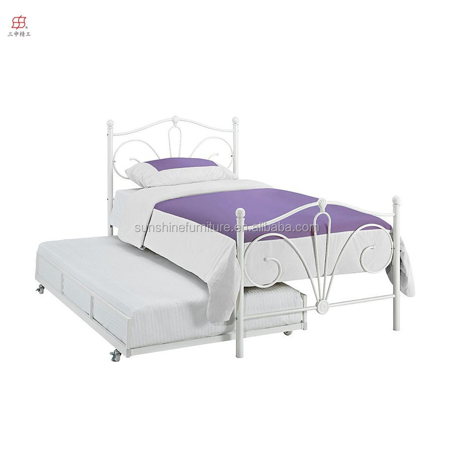 esential kids home furniture modern metal trundle bed in white