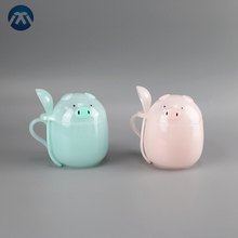 Cute Design Children Baby Water Bottle Piggy Shape Kids Bottle With Spoon