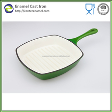 Cast iron enamel square grill pan for kitchen cookware wholesale