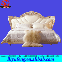 1.8m top selling high quality cheap price White European leather bed Leather bed double stick silver foil european-style bed