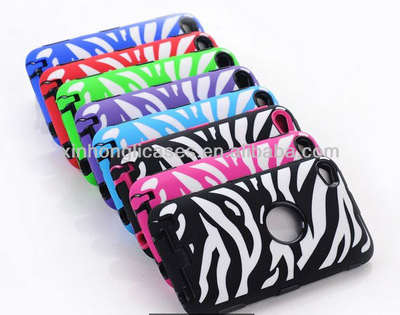 For iPod Touch 5th 5 5G Gen Hybrid Rocker Zebra Pink Black Cover+Black Skin Case