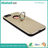 Factory Made 3 in 1 Texture Carbon Fiber Cell Phone Case with Ring for iphone7