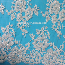 factory price embroidery hand beaded sequined bridal dress lace fabric