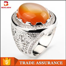 Fashion ring with big stone Indonesia lots sterling silver rings 925 silver gemstone ring for men