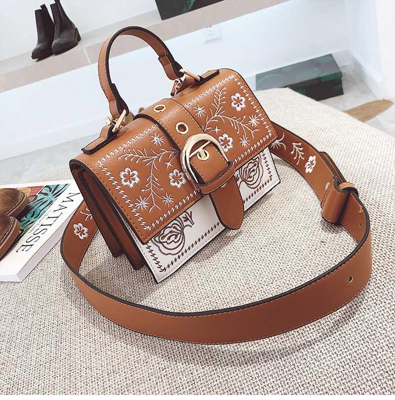 Toposhine Fashion Women Bag Panelled Vintage Flower Girls Bags for Girls Black PU Leather Women Messenger Bags Drop Shipping 12
