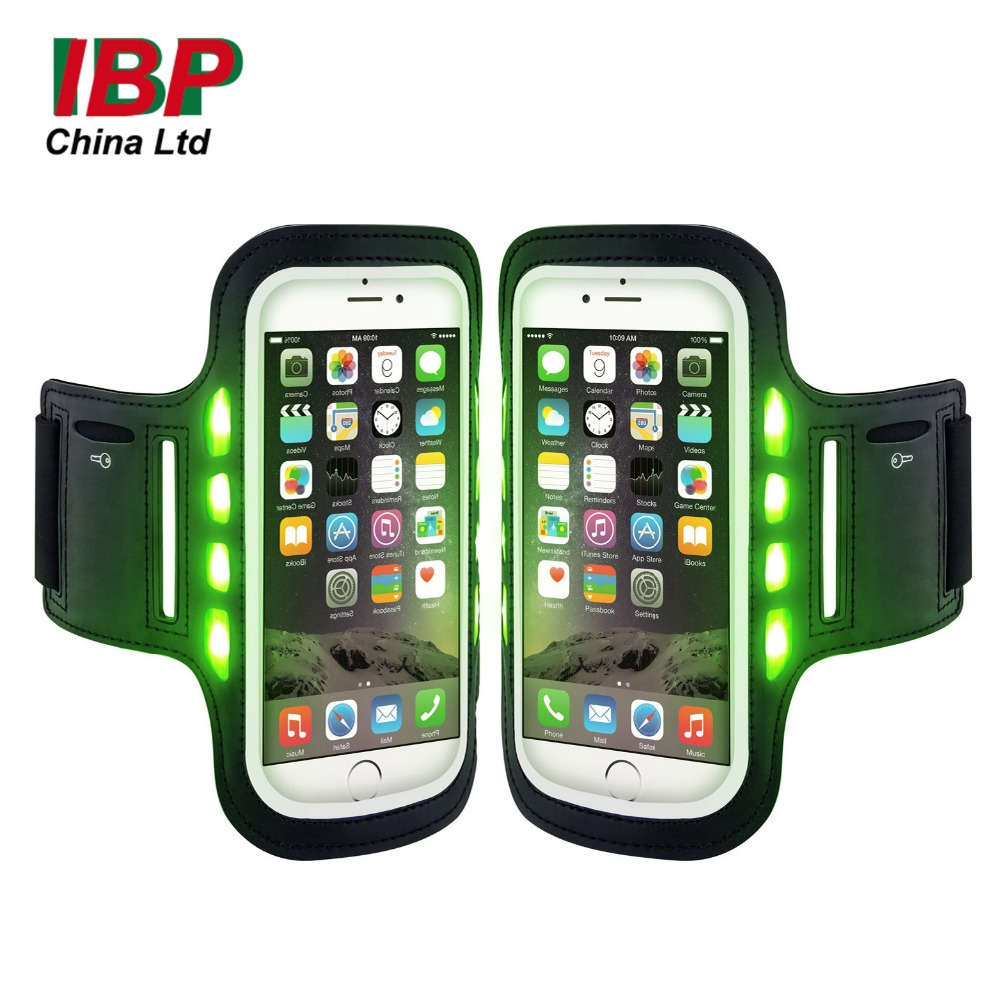 Cell Phone Bags Cover Outdoors Sport Led Luminous Armband Waterproof Phone Case for 5.5 inch
