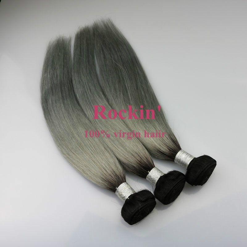 Alibaba Top Selling Silver color human hair ombre two tone indian remy gray colored hair weaving, gray human hair