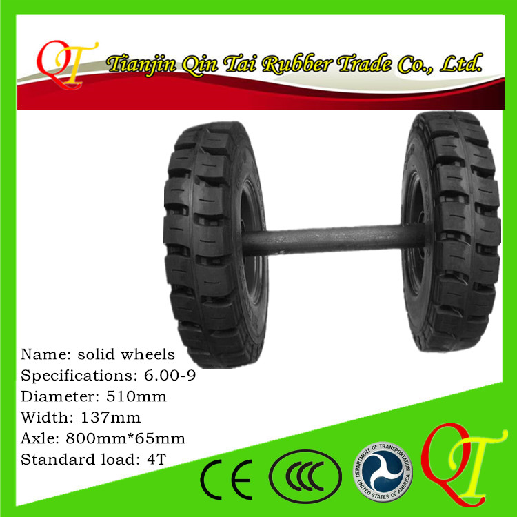 Build solid <strong>wheels</strong> With shaft Steel ring Shaft head <strong>axle</strong> 6.00-9 trailer /loader/forklift tire