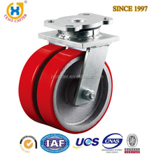 High Performance Dual Iron Wheel 3 ton Heavy Duty PU Caster Wheel