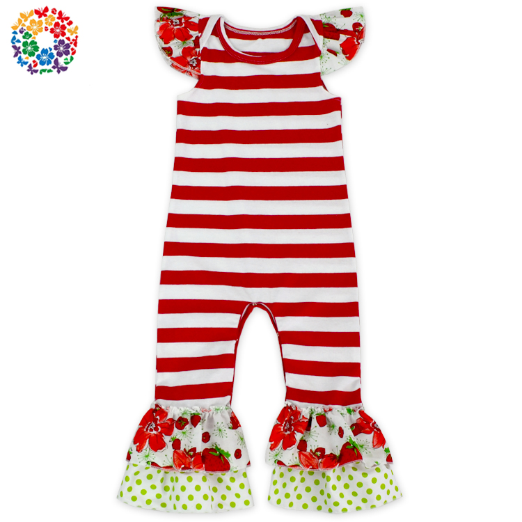 Wholesale Girls Christmas Boutique Printing Bodysuit Short Sleeve Onesie Romper Suit