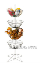 Rotating 4 Tier Wire Dump Bin Floor Display with Sign Holder & Prong Base