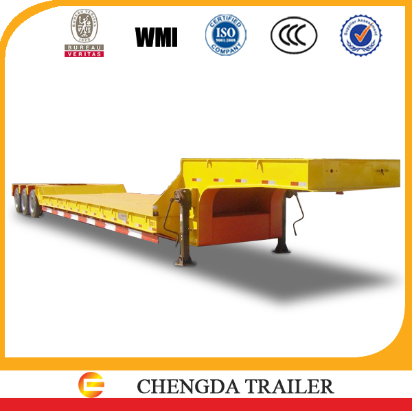 Hot selling 3axle flatbed semi trailer transporting large bus in Zambia
