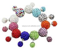 Fashion Korea Pop Flower Crystal Cheapest Double Side Stud Earrings Big Pearl Earrings
