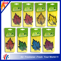 2016 hot sale colorful leaf shape personalized paper car scent air freshener paper, hotel room air freshener