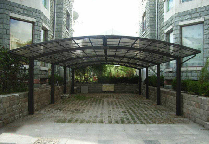strong aluminium frame decorative carport with arched roof and solid polycarbonate